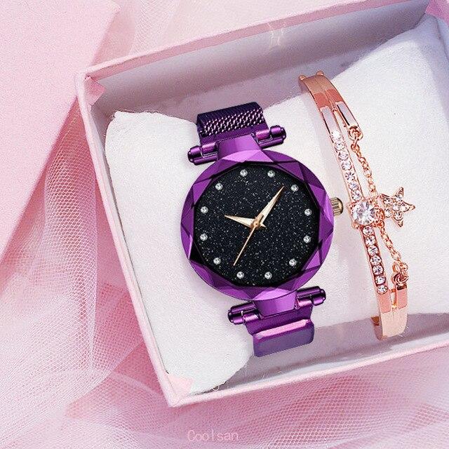 Femmes de luxe montre mode élégant aimant boucle Vibrato violet dames montre-bracelet ciel étoilé romain diamant montre à Quartz cadeau 2