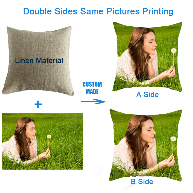 Fuwatacchi Life Photo Customization Pillow Cover Child Personal Customize Cushion Cover Linen Pillowcase Print Photo 45cm*45cm
