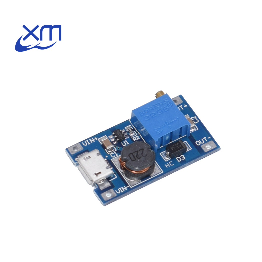 20 pçs/lote DC-DC módulo de impulso ajustável 2a placa reforço step up módulo com micro usb 2v-24v a 5v 9v 12v 28v mt3608 a52