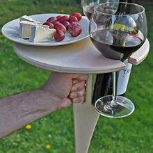 Portátil ao ar livre gramado mesa de vinho rack com dobrável redonda titular vidro vinho mesa piquenique de madeira mini fácil de transportar 2021