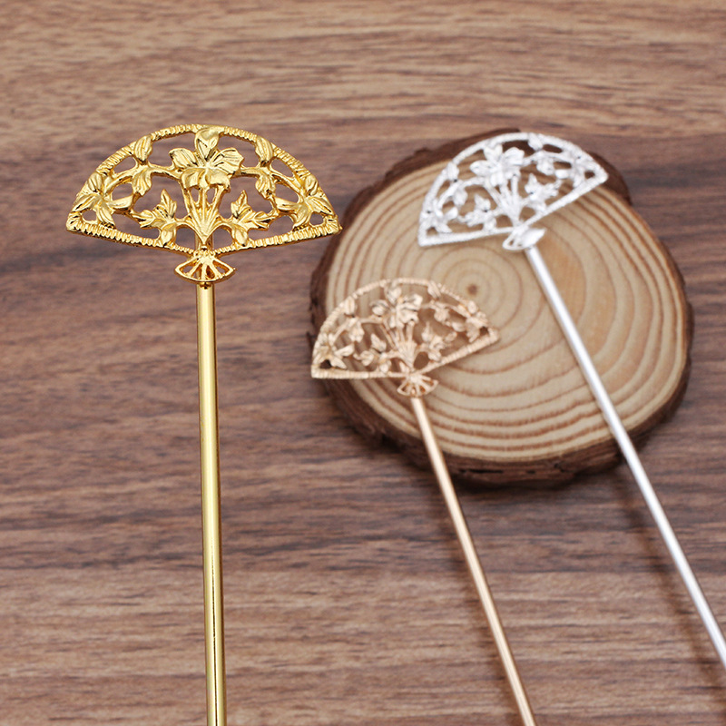 20 PCS 120mm Metal Alloy Fan Hair Sticks Gold Silver Color Hair Pins For Women Headwear Decoration DIY Jewelry Making