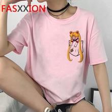 Kawaii Sailor Moon Funny Cartoon T Shirt Women Harajuku Ullzang 90s T-shirt Aesthetic Cute Tshirt Japanese Anime Top Tees Female
