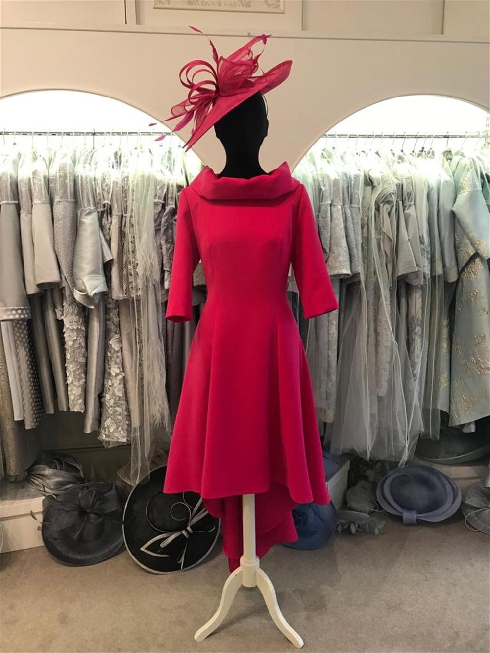 Excellent Chiffon Women's Dresses Half Sleeves Scoop High-Low Tea-Length Sheath Short Mother Of The Bride Dresses Plus Size