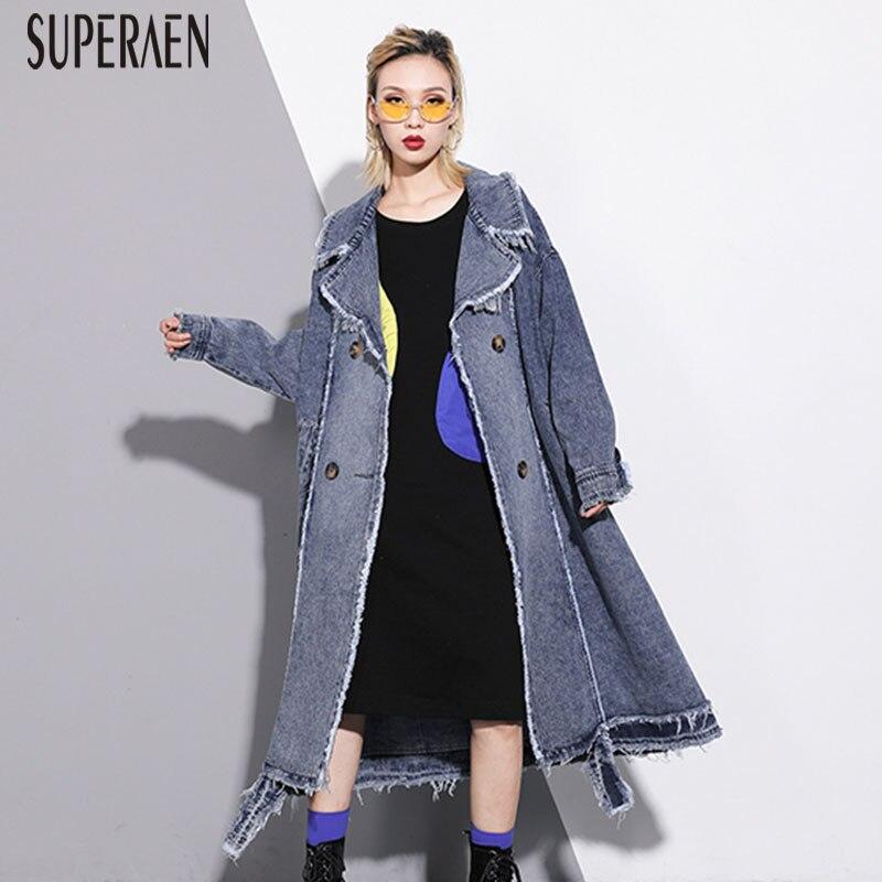 SuperAen Denim   Trench   Coat for Women 2019 New Autumn Pluz Size Wild Ladies Windbreaker Fashion Casual Europe Women Clothing