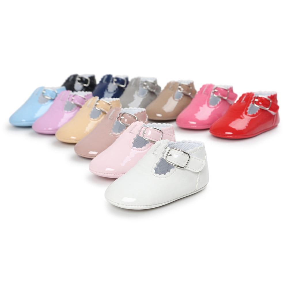 Newborn Baby Girls Shoes 12-colors PU Solid Cute Princess Dress Infant Toddler Crib Bebe First Walkers Prewalker Shoes Girl