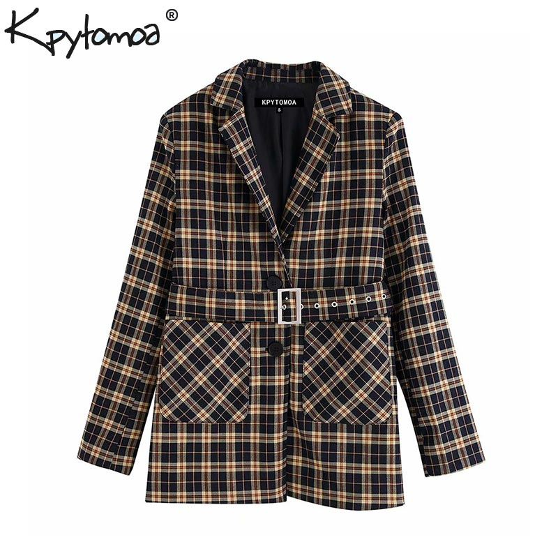 Vintage Stylish Office Lady With Belt Plaid Blazers Coat Women 2020 Fashion Notched Collar Long Sleeve Outerwear Chic Tops