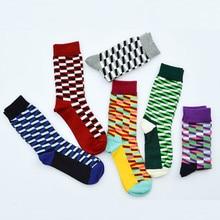 Мужские носки из чистого хлопка, новинка, весенне-осенние мужские повседневные хлопковые средние Носки, дизайнерские Разноцветные носки