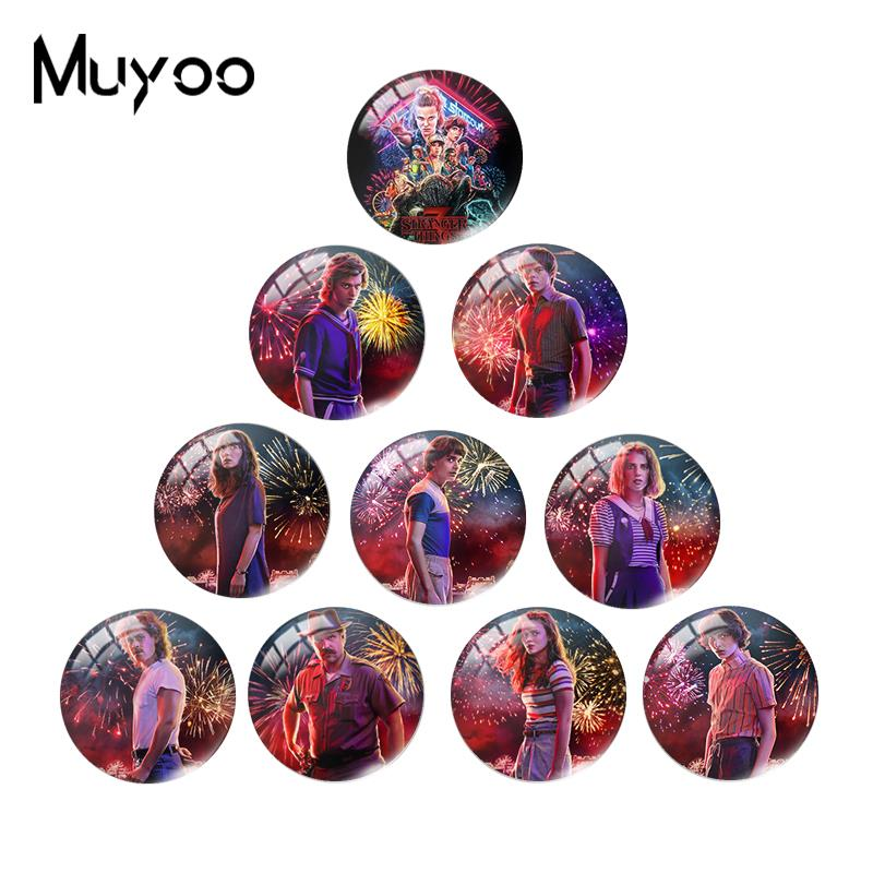 2019 New Stranger Things Glass Dome Cabochon TV Poster Cabochons Round Hand Crafy Jewelry