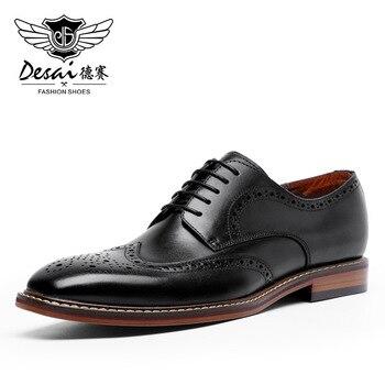 DESAI Men Business Dress Genuine Leather Shoes Retro Gentleman Formal Carved Bullock Brogue High Quality