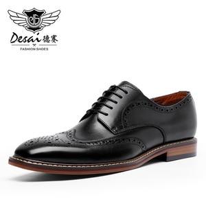 Image 2 - DESAI New Arrivals Light Brown Men Business Dress Shoes Genuine Leather Derby Gentleman Shoes Formal Carved Bullock Brogue