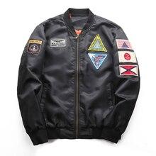 купить L-5XL Big Size Autumn Jacket Mens Ma-1 Flight Jacket Pilot Air Force Male Ma1 Army Green Military Motorcycle Jacket and Coats дешево