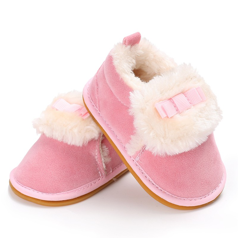 New Autumn Winter Warm Newborn Baby Boys Girl Lovely First Walker Cute Bowknot Cashmere Baby Shoes Multi-Colors