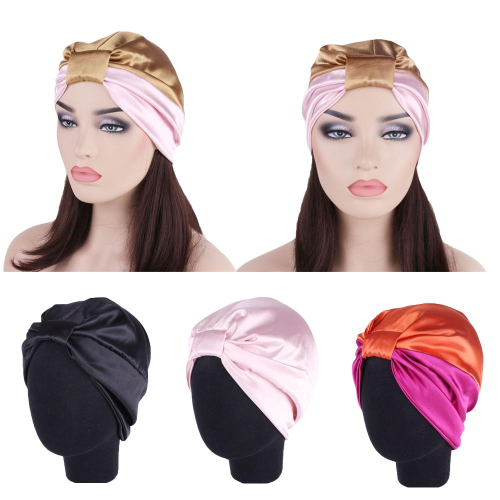 Satin Night Sleep Cap Muslim Women Head Wrap Turban Chemo Cap Hair Loss Bonnet Beanie Elastic Headwear Skullies Islamic Nightcap
