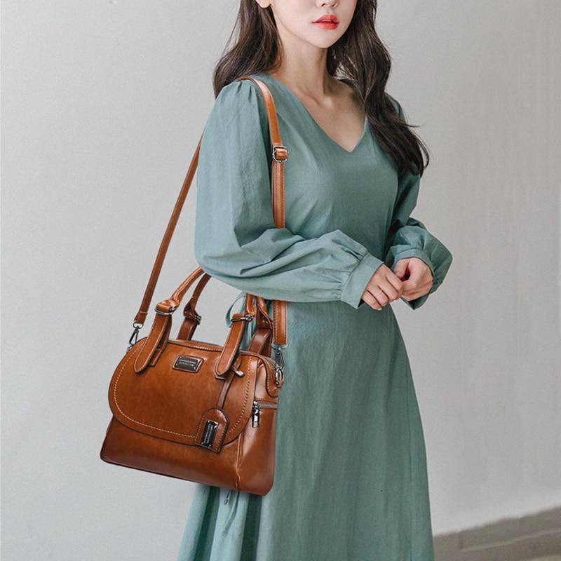 Vintage Leather Women Shoulder Bag Handbags Female Crossbody Bags For Women Messenger Bags Famous Brand Ladies Hand Bag bolsas
