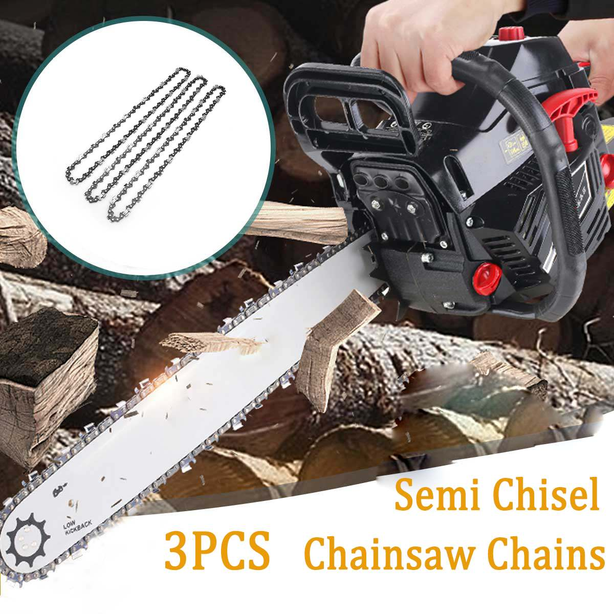 3pcs/set Chainsaw Semi Chisel Chains 3/8LP 0.05 For Stihl MS170 MS171 MS180 <font><b>MS181</b></font> Electric Saw Garden Power Tools Chainsaws image