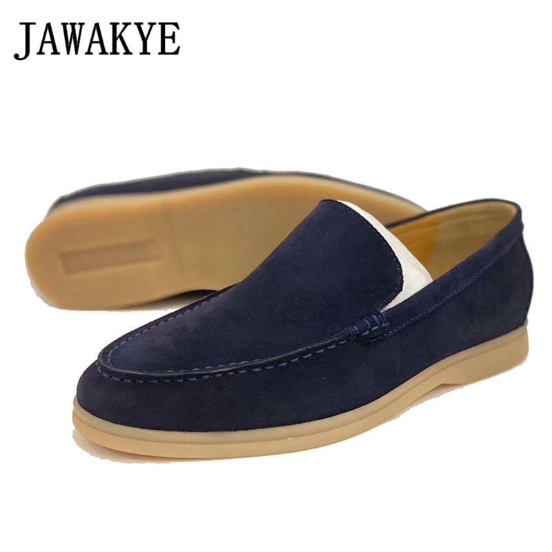 Men's Kidsuede Leather Loafers Comfortable Business Shoes For Men Royal Blue Men's Driving Shoes Flat Heel Rubber Sole Shoes