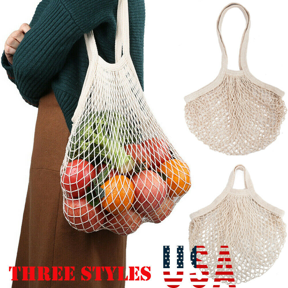 1pc Mesh Cotton Net Bag Tote Handbag Woven Fruit Vegetable Re-Usable Shopping Storage Bag