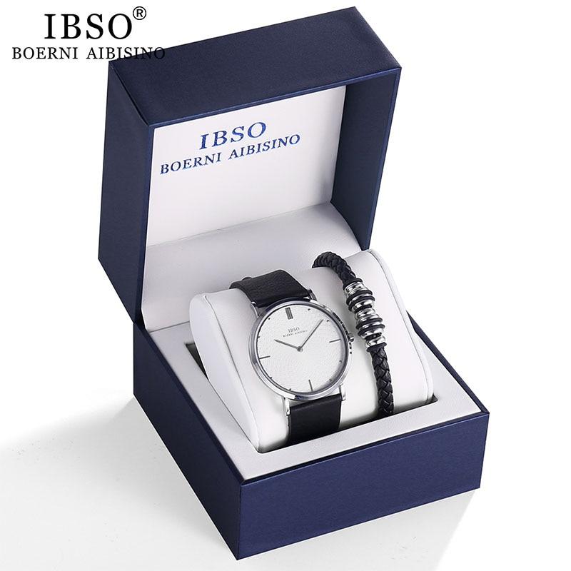 IBSO Brand Men's Quartz Bracelet Watch Set 7MM Ultra-thin Dial Quartz Wristwatch Business Genuine Leather Strap Watch Gift Set