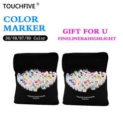 TouchFive الساخن بيع أقلام تلوين 1 مللي متر/6 مللي متر الكحولية الزيتية أساس الحبر مجموعة أقلام ل المانجا فرشاة ألوان مائية حبر القلم بطانات