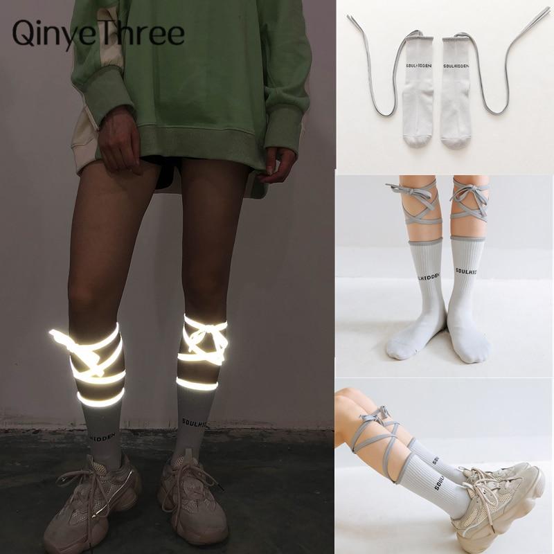 Novelty Reflective Strap Socks Tide Brand INS Japanese Club Party Nightclub Night Running Cross Personality Unisex Calf Tube Sox