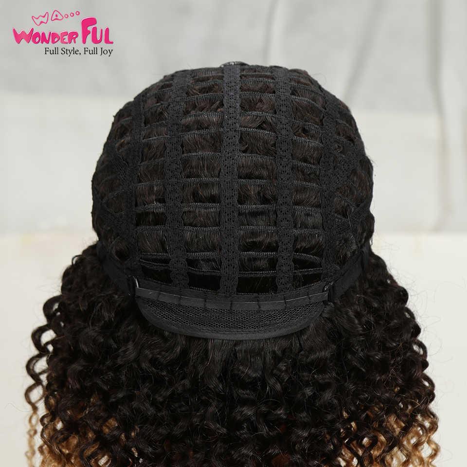 Brezilyalı Remy Jerry kıvırcık saç Omber sarışın peruk makinesi yapımı olmayan dantel kısa insan saçı peruk kadınlar için 10-14 inç renkli 1B/4/27
