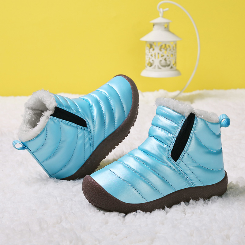 Winter New Plus Velvet Children Snow Boots Boys And Girls Leather Warm Waterproof Cotton Boots Students Outdoor Running Shoes