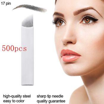 500pcs Microblading 17Pin shape Permanent Makeup Eyebrow flex Tattoo Needles For 3D lamina blade Agulhas Tebori Pen Tattoo Inks