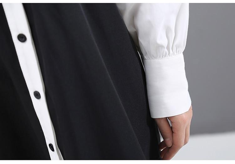 New Fashion Style Hit Color Pleated Hem Shirt Dress Fashion Nova Clothing