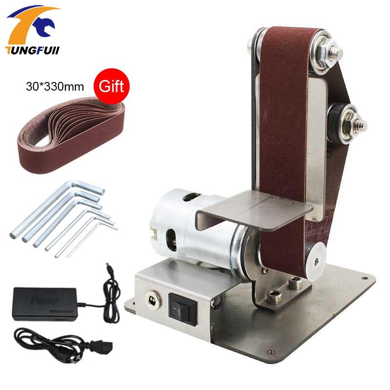 110-240V Electric Belt Machine Sander 350W Sanding Grinding Polishing Machine Abrasive Belts Grinder DIY Polishing Cutter Edges