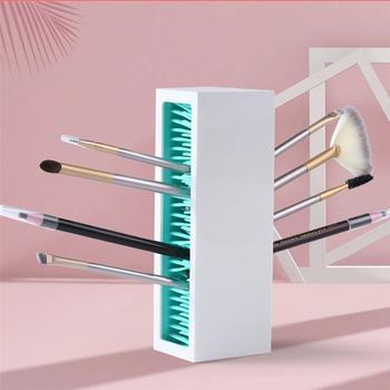 Profesjonalny stojak na pędzelki do makijażu uchwyt błyszczyk etui na szminki silikonowa podstawka na lakier do paznokci pudełko wystawowe na kosmetyki tanie i dobre opinie CN (pochodzenie) Z gumy silikonowej Creative Silicone Lipstick Storage Rack ABS+TPE Lip gloss lip glaze storage box Desktop cosmetic storage box