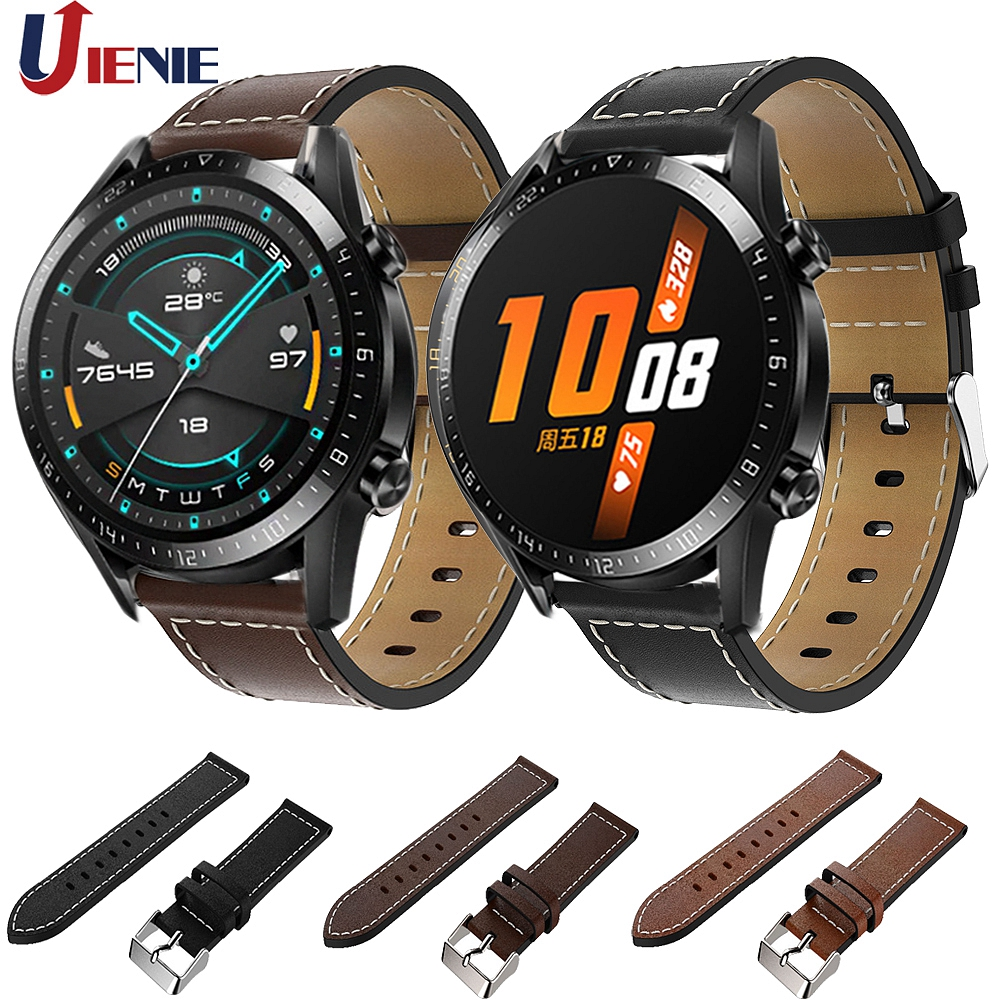 Leather Watchband For Huawei Watch GT GT2 46mm/Honor Magic 2 Strap Band 22mm Replacement Bracelet Wristband For Amazfit GTR 47MM