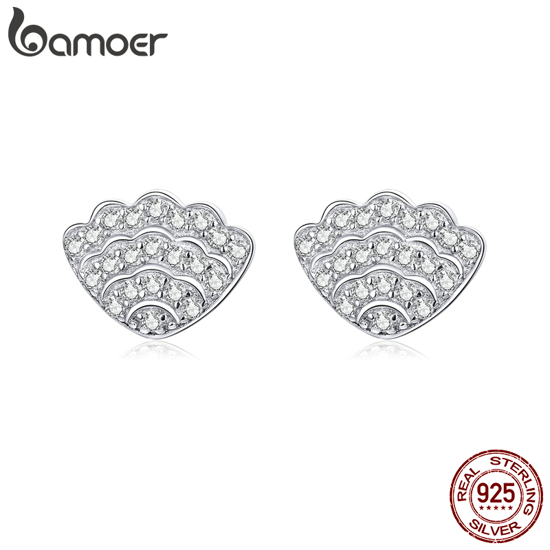 Bamoer Dazzling Full Paved Shell Stud Earrings For Women 925 Sterling Silver Jewelry Wedding Engagement Statement Jewelry BSE342