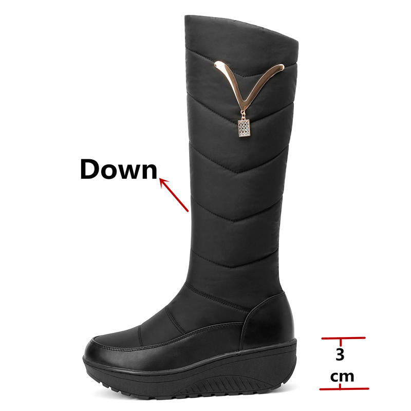 Image 3 - FEDONAS Classic Down Female Big Size Wedges Snow Boots Winter Warm Metal Women Knee High Boots Casual Shoes Woman Long Boots-in Knee-High Boots from Shoes