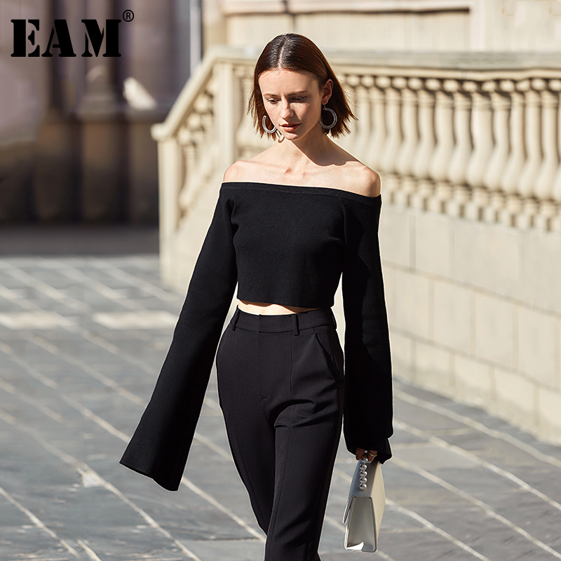 [EAM] Women Black Brief Temperament Knitting T-shirt New Slash Neck Long Sleeve  Fashion Tide  Spring Autumn 2020 1S076 1