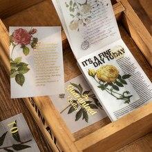 Retro natureza série de floricultura plantas notas pegajosas bloco de notas diário scrapbook decorativo transparente n vezes pegajoso