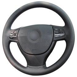 Protector de cuero Artificial para volante de coche BMW, protector de cuero Artificial de punto negro para volante de coche BMW F10 F07 (GT) 2013-2019 F11 (Touring) 2014-2019 F01 F02