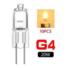 Barato por atacado novo 10 pçs lâmpadas de halogênio g4 base 20w 12v poupança energia tungstênio halogênio jc tipo lâmpada