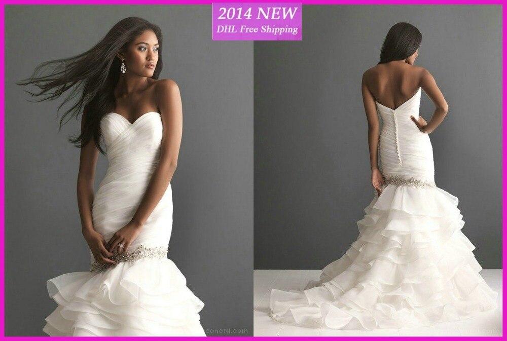 Frete Grtis Venda Quente Elegante Beading Babados Querida Sereia Organza Vestidos Brancos/vestido De Noiva Marfim Personalizado-