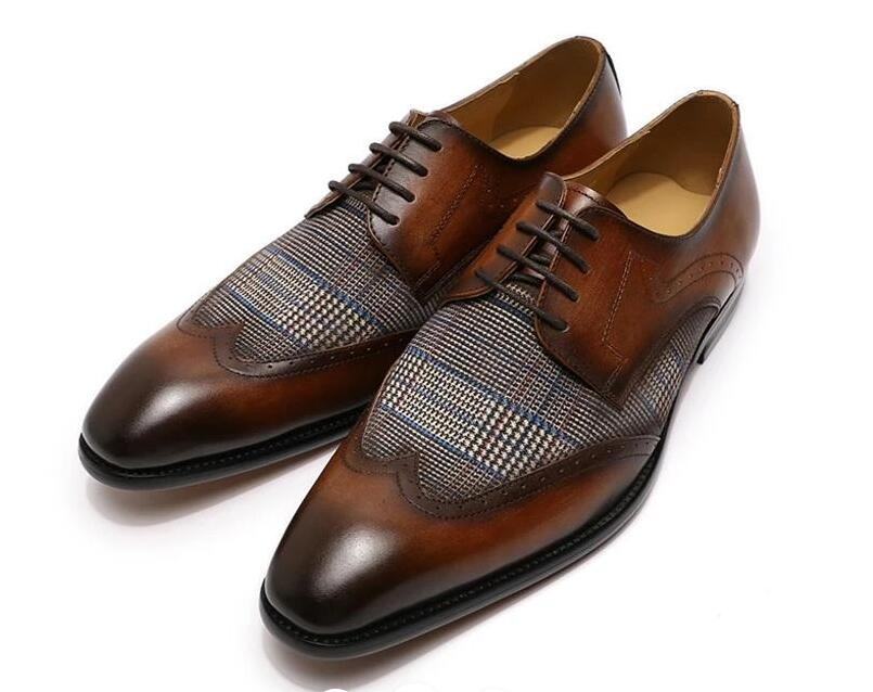 Men Leather Shoes Low Heel Casual Shoes Dress Shoes Brogue Shoes Spring Ankle Boots Vintage Classic Male Casual PS545
