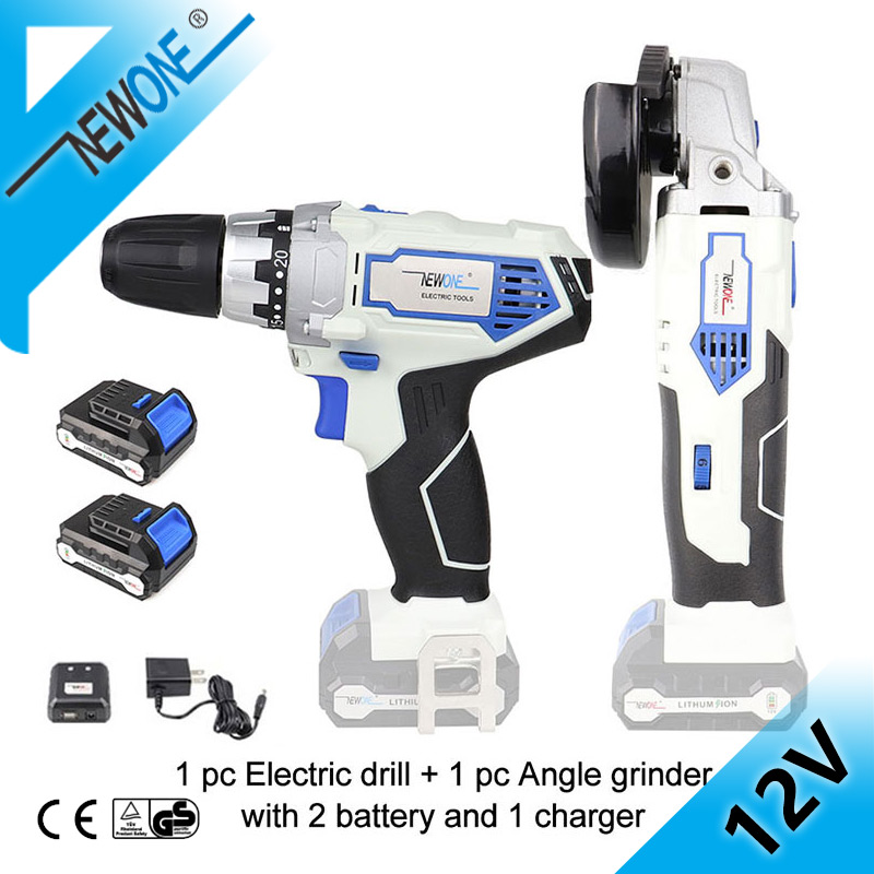 Keinso/newone 12V 2000mah Power Tools Angle Grinder And Electric Drill With Two Lithium Battery And One Charger