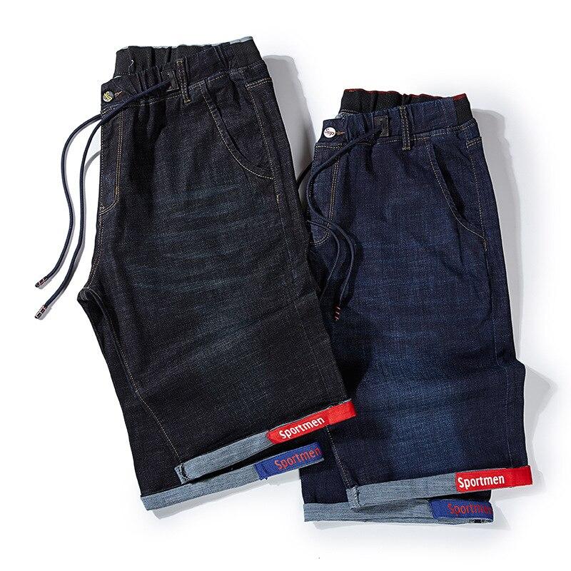 Summer Popular Brand Elastic Waist Large Size Cowboy Shorts Men's Loose-Fit Elasticity Plus-sized Business Men's Shorts