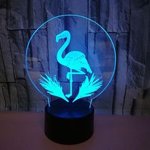 3D Led 7 couleurs changeant acrylique flamant rose lampe de Table USB bouton tactile mode veilleuses maison salon éclairage décoration(China)