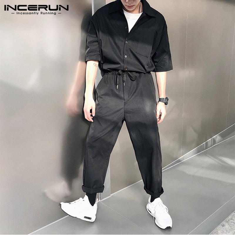 INCERUN Fashion Men Rompers Half Sleeve Solid Cargo Overalls Joggers Button 2019 Loose Chic Men Casual Pants Jumpsuit Streetwear