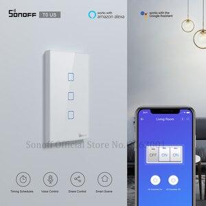 Image 1 - Sonoff interruptor inteligente de parede t0us tx, temporizador de interruptor de luz inteligente wifi com suporte de voz/aplicativo/controle por toque, 1/2/3 gang funciona com alexa google home ifttt