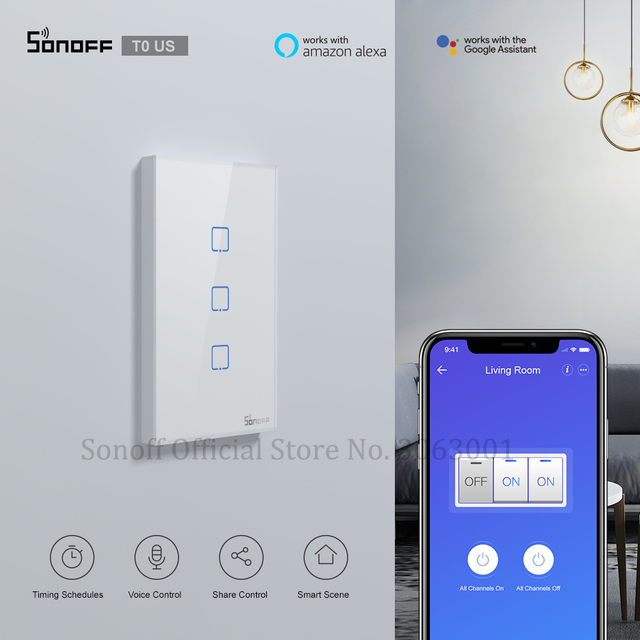 Sonoff interruptor inteligente de parede t0us tx, temporizador de interruptor de luz inteligente wifi com suporte de voz/aplicativo/controle por toque, 1/2/3 gang funciona com alexa google home ifttt