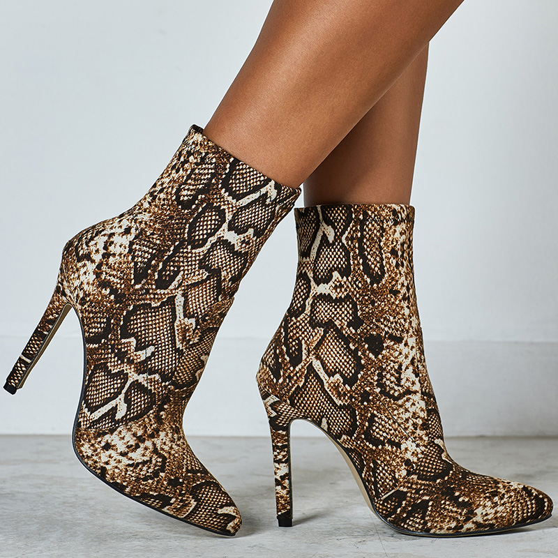 Women Combat Ankle Boots 11.5cm Thin High Heels Plus Size 42 Stripper Short Boots Stiletto Heels Snake Print Winter 2020 Shoes