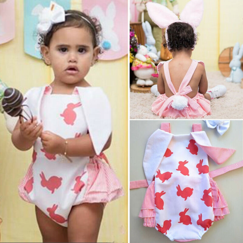 Newborn Baby Girl Easter Rabbit Ear Cute Bunny Sleeveless Backless Bandage Bodysuit Jumpsuit Headband Headdress Outfits 2PCS