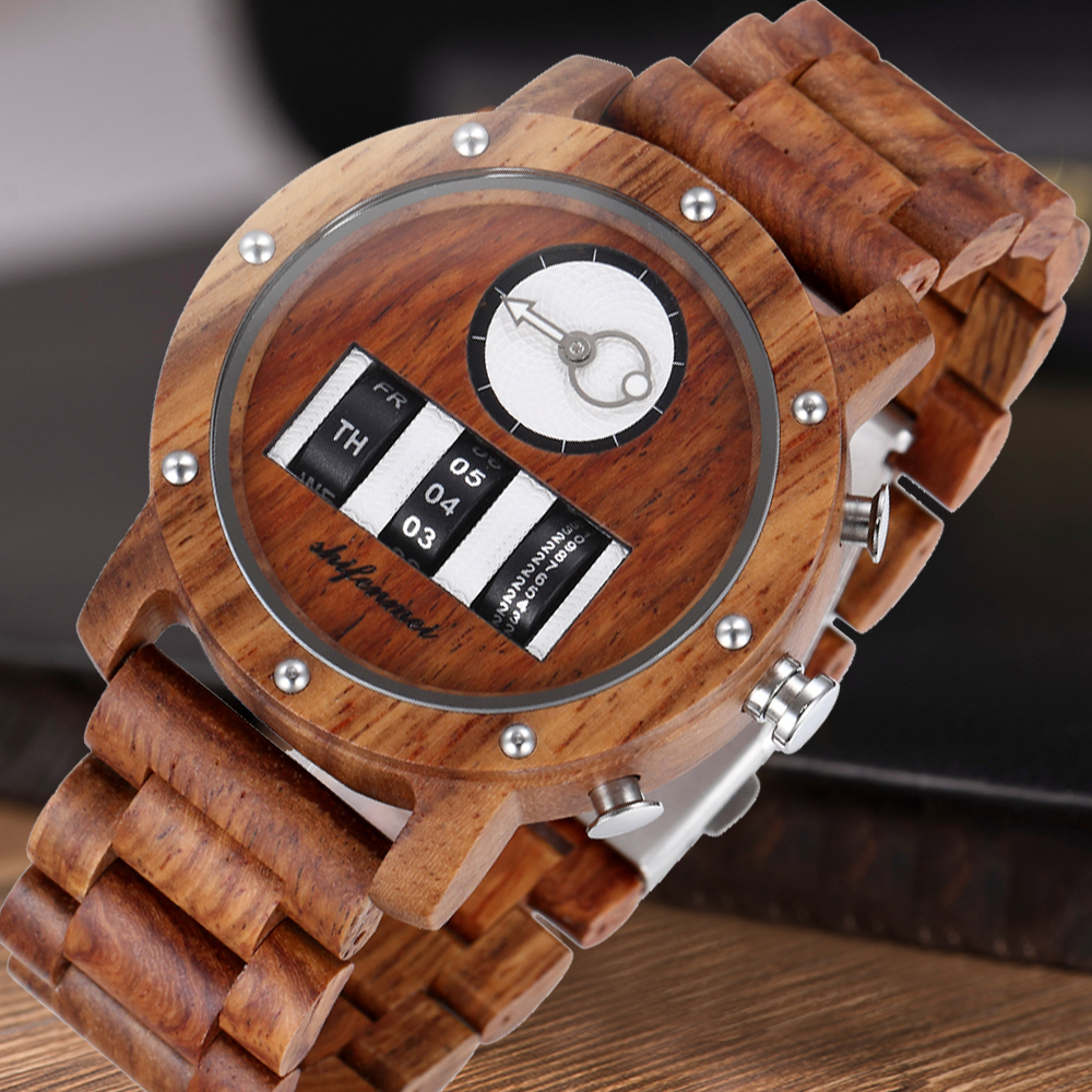 Shifenmei Wood Watches mens 2020 Quartz Mens Watches Top Brand Luxury Wooden Drum Watch Male Roller Wristwatch Relogio Masculino