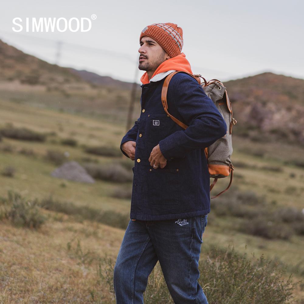 SIMWOOD 2020 Winter new thick fleece coats men denim shearling Jacket high quality plus size coats brand clothing I980629