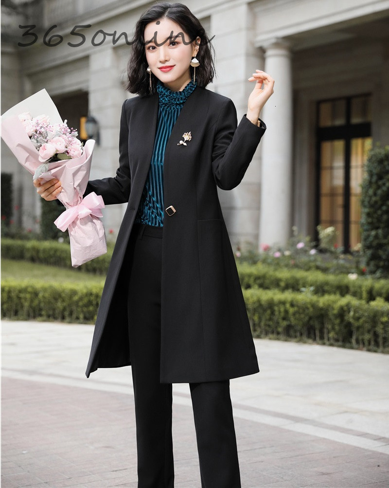 Fashion Uniform Styles Professional Business Suits for Women Office Work Wear Blazers Set Pantsuits Autumn Winter Outfits Set 27